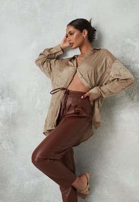 Missguided Bronze Crinkle Extreme Oversized Satin Shirt