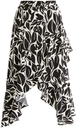 Paisie Leigh Print Frill Skirt In Black & White