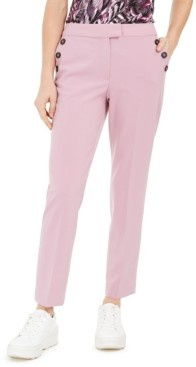 Bar III Faux-Button Straight-Leg Stretch Pants, Created for Macy's