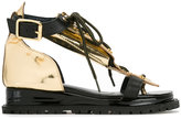 Sacai lace top sandals - women - Leather/rubber - 35