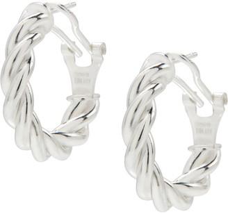 """UltraFine Silver 3/4"""" Twisted Omega Back Hoop Earrings"""