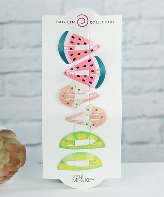 Funky Monkey Women's Hair Clips Coral, - Ice Cream Cone & Lime Hair Clips
