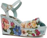 Dolce & Gabbana Floral Print Platform Wedge Sandal