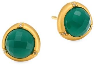Dean Davidson 22K Yellow Goldplated & Green Onyx Bamboo Motif Stud Earrings