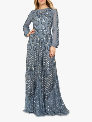 Beaded Dreams Embellished Long Sleeve Maxi Dress, Powder Blue