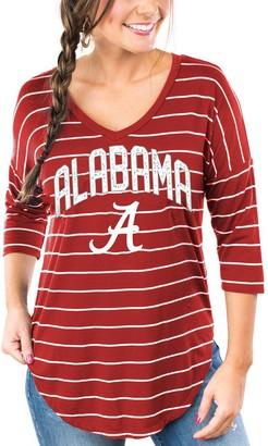 Unbranded Women's Crimson Alabama Crimson Tide Fall in Line Striped V-Neck Half-Sleeve T-Shirt