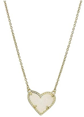 Kendra Scott Ari Heart Short Pendant Necklace (Gold Iridescent Drusy) Necklace