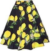 Ruiyige Women's High Waist Floral/Polka Dots Print Pleated Skirt Midi Skater Skirt 2XL