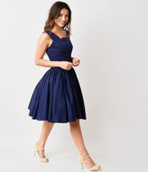 Unique Vintage Navy Roman Holiday Scalloped Retro Flare Dress