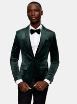 TopmanTopman Green Skinny Fit Velvet Blazer With Shawl Lapel