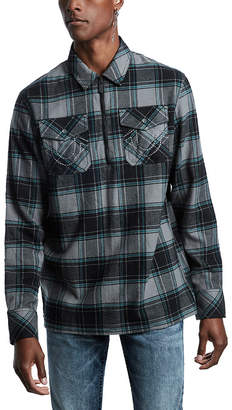True Religion Men's Non-Denim Casual Jackets GREY - Gray & Blue Plaid Quarter-Zip Flannel Top - Men