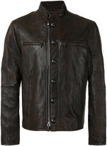 John Varvatos button-down leather jacket - men - Sheep Skin/Shearling - 48