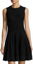 John & Jenn Stitch-Pattern Fit & Flare Dress, Black