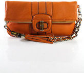 Melie Bianco Orange Faux Leather Rectangular Embellished Small Tassel Clutch Han