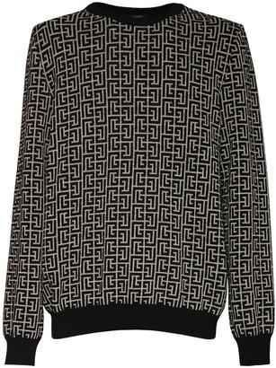 Balmain Monogram Wool Blend Knit Sweater