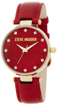 Steve Madden Women&s Paisley-Embossed Dial Leather Strap Watch