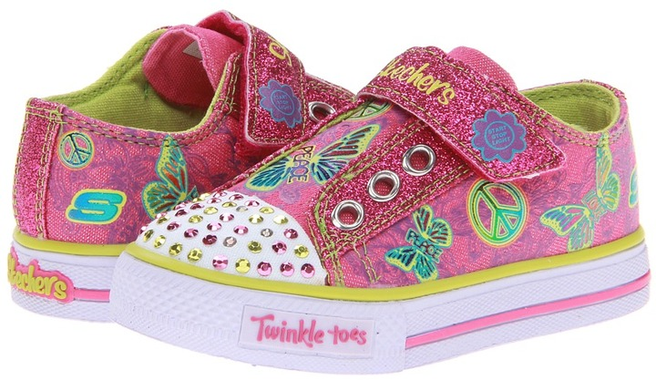 Skechers Shuffles - Glow Girl Lights 10289N (Toddler) (Hot Pink) - Footwear