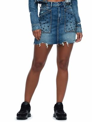 True Religion Women's HW Skirt W Print Embellishment