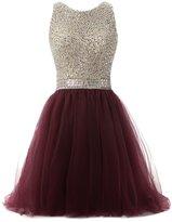 Callmelady Tulle Beading High Neck Short Homecoming Dresses for Juniors 217 (, US)