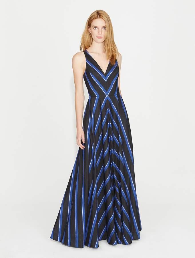 Halston Striped Jacquard Gown