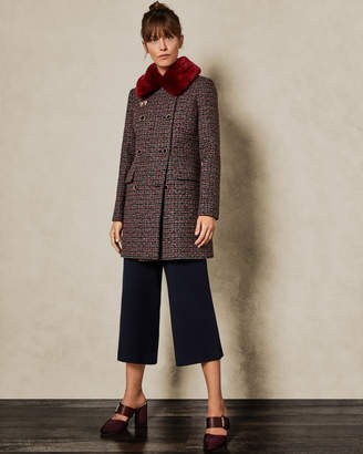 Ted Baker ELONI Removable faux fur collar wool pea coat