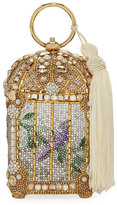 Judith Leiber Couture Birdcage Crystal Beaded Tassel Clutch Bag
