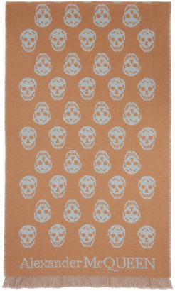 Alexander McQueen Reversible Beige and Grey Skull Scarf