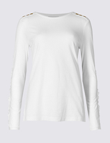 Per Una Pure Cotton Epaulette Embroidered T-Shirt