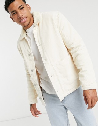 ASOS DESIGN cord worker shacket with borg collar in stone