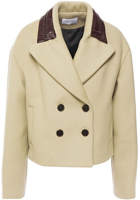 Carven Double-breasted Coated And Brushed-felt Wool-blend Coat