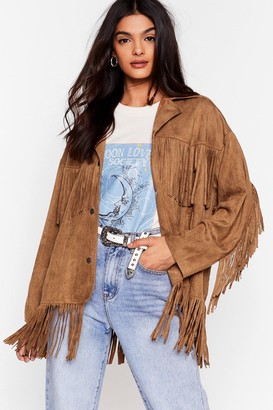 Nasty Gal Womens Swing By Faux Suede Fringe Jacket - Camel