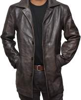 fjackets Brown Distressed Supernatural Real Leather Jacket (M, )