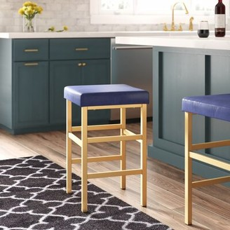 "Wade Logan Hendon Bar & Counter Stool Seat Height: Counter Stool (26"" Seat Height), Upholstery: Blue, Color: Gold"