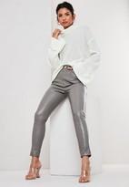 Missguided Grey Croc Effect Faux Leather Slim Leg Pants
