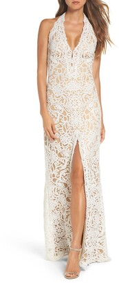 Tadashi Shoji Halter Sequin Lace Column Wedding Dress