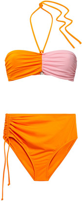 Emilio Pucci Ruched Two-tone Bandeau Bikini