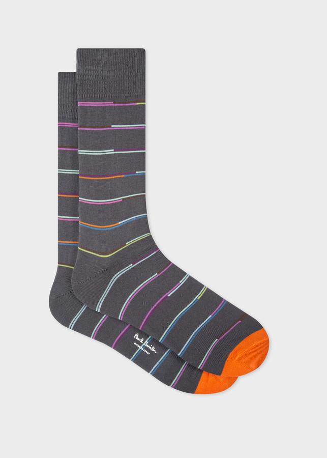 Paul Smith Men's Grey Split-Stripe Socks