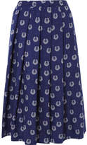 Comme des Garcons Printed Poplin Midi Skirt - Navy