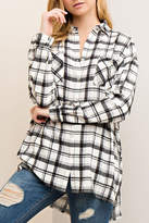 Entro Black/white Plaid Blouse