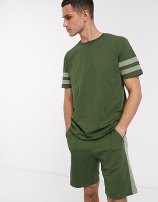 Asos Design DESIGN pyjama short and tshirt set in khaki with collegiate stripe and pintuck shorts