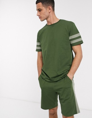 Asos DESIGN pyjama short and tshirt set in khaki with collegiate stripe and pintuck shorts