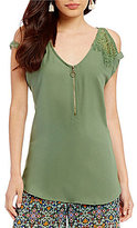 Takara Lace Trim Cut-Out Cold Shoulder Top