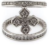 Loree Rodkin mini halo princess cross diamond mid finger ring