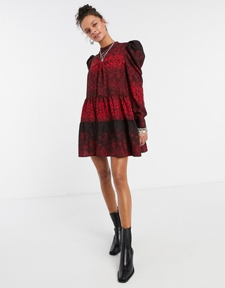 Topshop high neck puff sleeve mini dress in red print