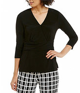 Preston & York Reba V-Neck Ruched Knit Top