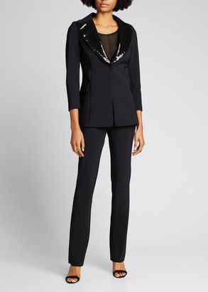 Chiara Boni Sequin-Collar Tuxedo Jacket