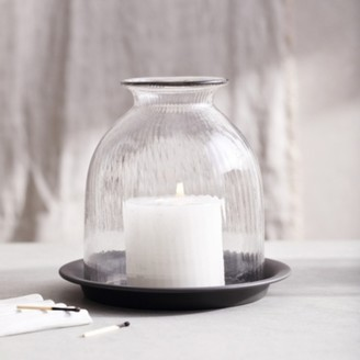 The White Company Ribbed Domed Glass Medium Candle Holder With Tray, Clear, One Size