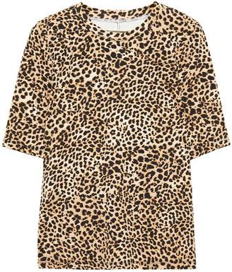 Enza Costa Leopard-print Stretch-jersey T-shirt