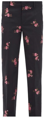 RED Valentino Floral-jacquard Wool-blend Twill Trousers - Black Multi
