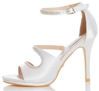 Dorothy Perkins Womens *Quiz Ivory Bridal Diamante Heeled Sandals, Ivory